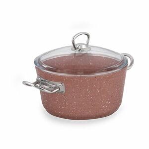 Růžový hliníkový hrnec s poklicí Güral Porselen Classic,ø20cm