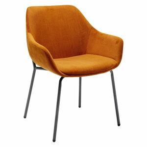 Set 2 oranžových sametových židlí s područkami Kare Design Avignon