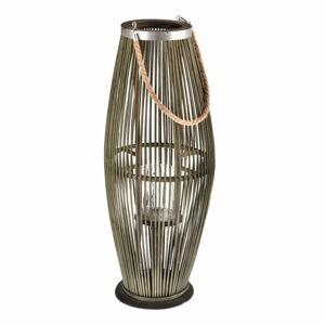 Zelená skleněná lucerna s bambusovou konstrukcí Dakls, výška 71 cm