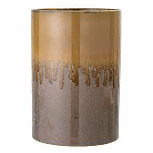 Hnědá kameninová váza Bloomingville Zabri, výška 21cm