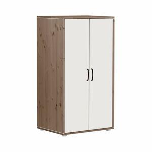 Hnědo-bílá dětská šatní skříň z borovicového dřeva Flexa Classic, výška 133 cm