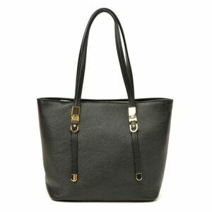 Černá kožená kabelka Luisa Vannini, 35 x 26 cm