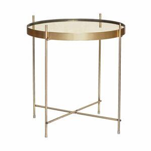 Odkládací stolek zlaté barvy se zrcadlovou deskou Hübsch Dorotea, ø43cm