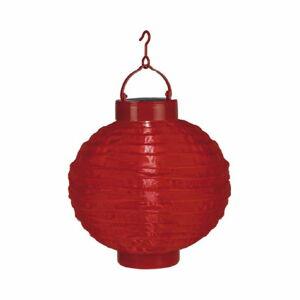 Červený venkovní solární LED lampion BestSeason Summer, ø30cm