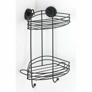 Černá rohová dvoupatrová polička do koupelny Wenko Vacuum-Loc® Pavia, výška 43 cm