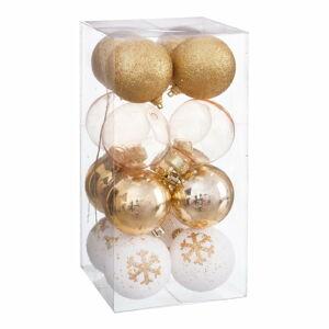 Sada 16 vánočních ozdob ve zlaté barvě Unimasa Foam, ø 6 cm