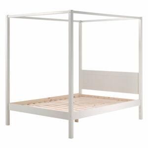 Bílá dětská postel Vipack Pino Canopy, 140x200cm