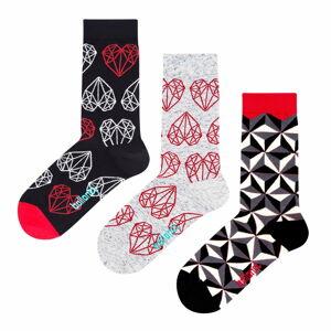 Set 3 párů ponožek Ballonet Socks Black & White v dárkovém balení, velikost 41 - 46