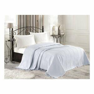 Světle modrý bavlněný přehoz přes postel na dvoulůžko Roman, 220 x 240 cm