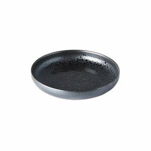 Černo-šedý keramický talíř se zvednutým okrajem MIJ Pearl, ø 22 cm