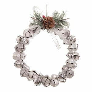Závěsný vánoční věnec ve stříbrné barvě Unimasa Cascabeles