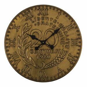 Nástěnné hodiny ve zlaté barvě Antic Line, ø 60 cm