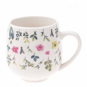 Bílý porcelánový hrneček s květinovým motivem Dakls, objem 0,5 l