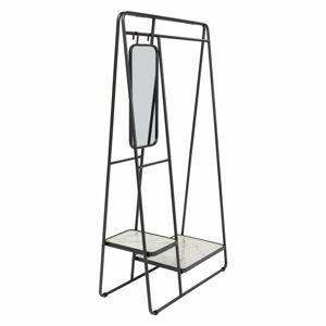 Černý kovový stojan naoblečení spolicemi azrcadlem Kare Design Mirror, výška 178cm
