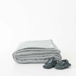 Dětská šedá lněná deka Linen Tales Naturel,100x140cm