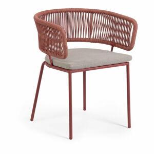 Zahradní židle s ocelovou konstrukcí a hnědým výpletem La Forma Nadin