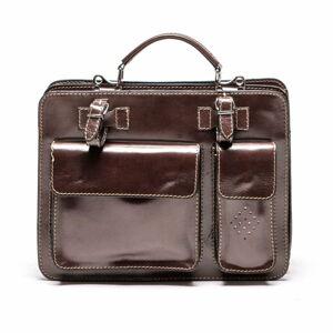 Tmavě červená kožená kabelka Luisa Vannini, 17 x 28 cm