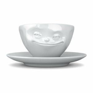 Bílý usměvavý porcelánový hrnek na kávu 58products, objem 200 ml