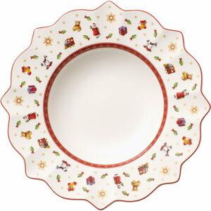 Bílo-červený hluboký porcelánový vánoční talíř Toy's Delight Villeroy&Boch, ø 26 cm