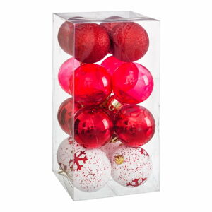 Sada 16 vánočních ozdob v červené barvě Unimasa Foam, ø 6 cm