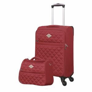 Set červeného cestovního kufru na kolečkách a menšího kufříku GERARD PASQUIER Valises Cabine & Unity Case