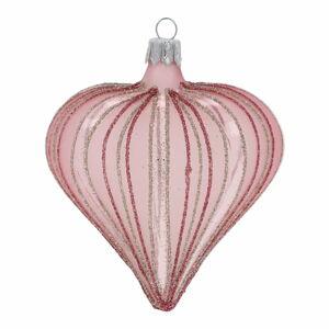 Sada 3 světle růžových vánočních ozdob Ego Dekor Heart