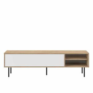 Televizní stolek s bílými výklopnými dvířky a černými nohami TemaHome Ampère