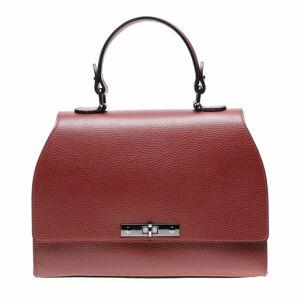 Červená kožená kabelka s popruhem Carla Ferreri