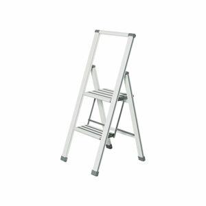 Bílé skládací schůdky Wenko Ladder Alu, výška101 cm