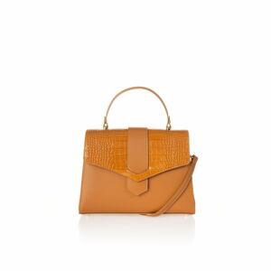 Oranžová kožená kabelka Federica Bassi Marta