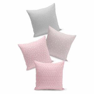Sada 4 růžovo-šedých povlaků na polštář Kate Louise Geometric,45x45cm