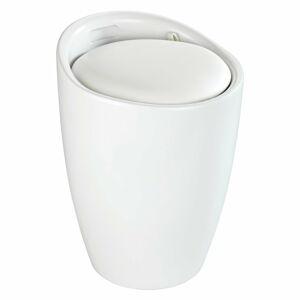 Bílá koupelnová stolička s vyjímatelným košem na prádlo Wenko Candy
