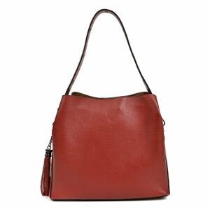 Červená kožená kabelka Mangotti Bags, 30 x 26 cm