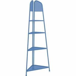 Modrá kovová rohová police nabalkon ADDU MWH, výška 180cm