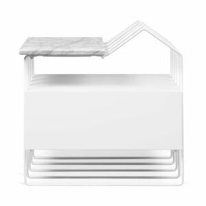 Bílý noční stolek s mramorovou deskou TemaHome Domi