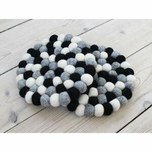 Černo-bílý kuličkový podtácek z vlny Wooldot Ball Coaster, ⌀ 20 cm