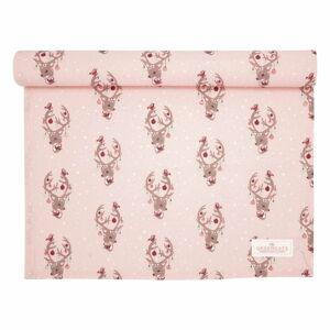 Růžový bavlněný běhoun na stůl Green Gate Dina,140x45 cm