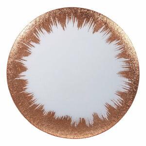 Skleněný talíř v bílo-zlaté barvě Villa d'Este Vetro Copper,ø32cm
