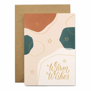 Vánoční přáníčko z recyklovaného papíru s obálkou Printintin Warm Wishes, formát A6