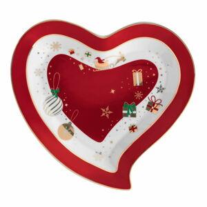 Porcelánový servírovací talíř ve tvaru srdce Brandani Alleluia Heart, délka 22 cm