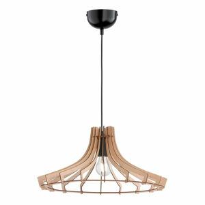 Hnědé závěsné svítidlo ze dřeva a kovu Trio Wood, výška 150 cm
