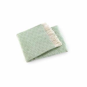 Mátově zelený pléd s podílem bavlny Euromant Agave, 140x180cm