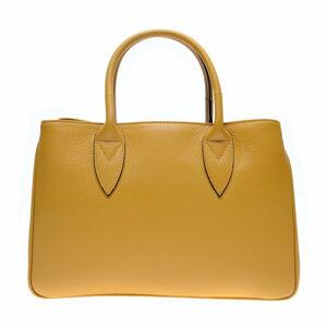 Žlutá kožená kabelka Anna Luchini, 23 x 34.5 cm