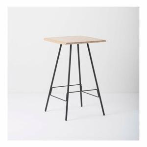 Barový stolek s deskou z masivního dubového dřeva a černými nohami Gazzda Leina