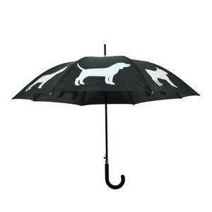 Černo-bílý deštník s reflexními prvky Esschert Design Dog