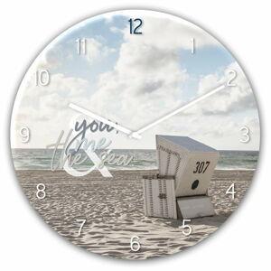 Skleněné nástěnné hodiny Styler The Se, ø 30 cm