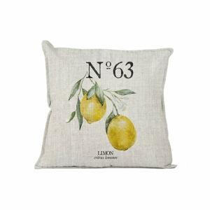 Žlutý dekorativní polštář Linen Couture Lino Lemons, 45 x 45 cm