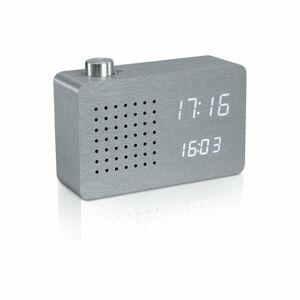 Šedý budík s bílým LED displejem a rádiem Gingko Radio Click Clock