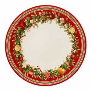 Červeno-bílý porcelánový vánoční talíř Winter Bakery Delight Villeroy&Boch, ø 27 cm