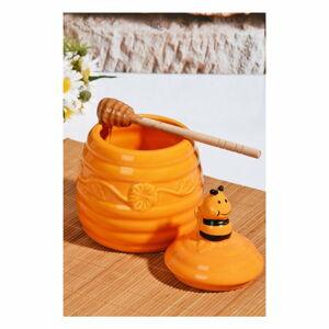 Žlutá dóza na med s víčkem Honey